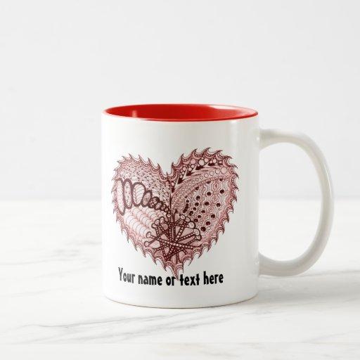 Doodle rojo del fuego del corazón taza de café de dos colores