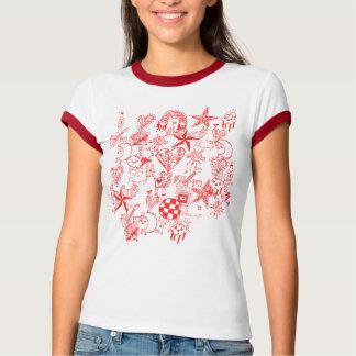 Doodle rojo playera