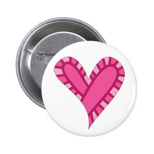 Doodle rosado caprichoso del corazón pin