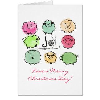 Doodle sheep angora knitting crochet  Christmas Card