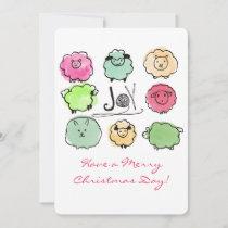 Doodle sheep angora knitting crochet  Christmas Holiday Card