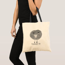 Doodle Sheep Personalized Tote Bag
