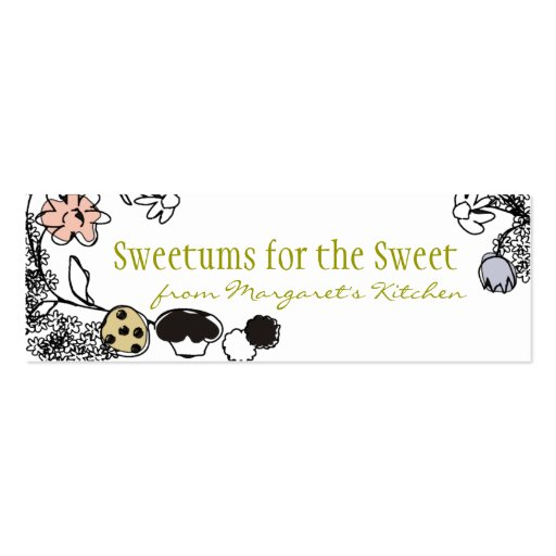 doodle sketch bakery sweets flowers gift tags business card template
