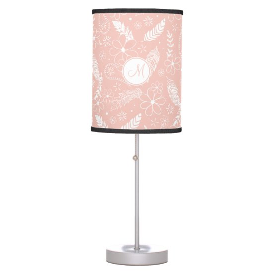 doodle sketch feathers flowers pink or ANY color Desk Lamp
