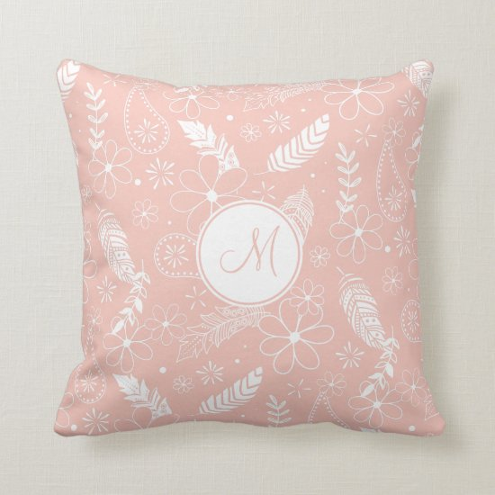 doodle sketch feathers flowers pink or ANY color Throw Pillow