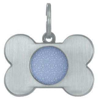 Doodle Snowflakes on a blue background Pet ID Tag