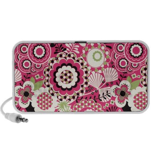 Doodle Speaker - Pink & White Funky Retro Floral