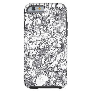 Doodle submarino funda de iPhone 6 tough