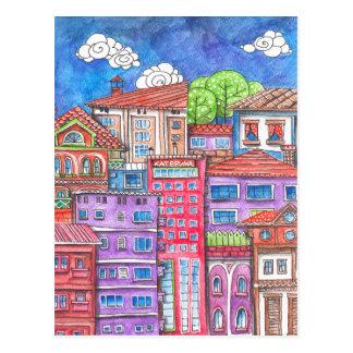 Doodle town. postcard