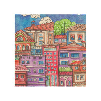 Doodle town wood print