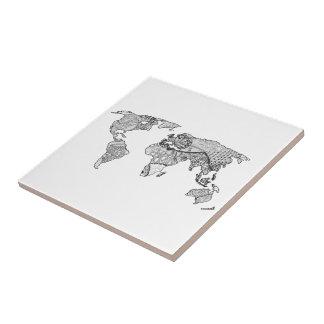 Doodle único del arte del mapa del mundo azulejo cuadrado pequeño