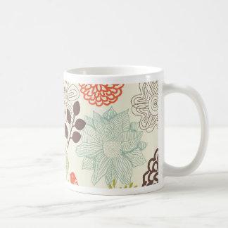doodle vector birds anf flowers coffee mug
