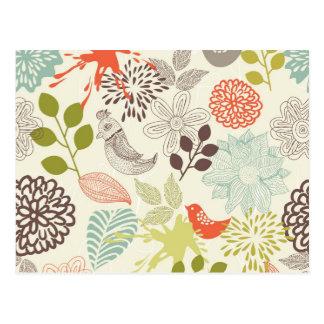 doodle vector birds anf flowers postcard