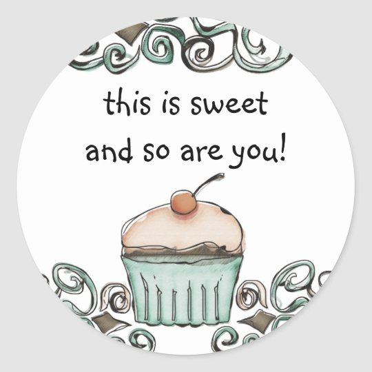 doodle watercolor cupcake baking gift tag stick...