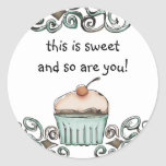 doodle watercolor cupcake baking gift tag stick... stickers