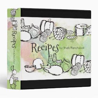 Doodle watercolor fruit vegetables recipe cookbook binder