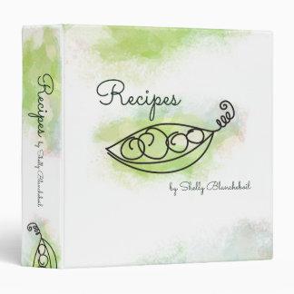 Doodle watercolor peas peapod recipe cookbook 3 ring binder