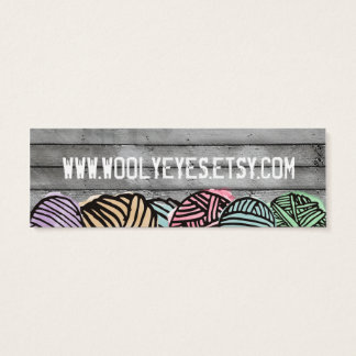 Doodle watercolor yarn knitting crochet mini business card