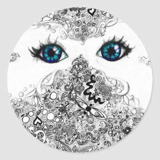 Doodle white butterfly mask classic round sticker