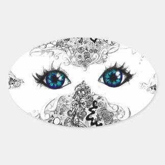 Doodle white butterfly mask oval sticker