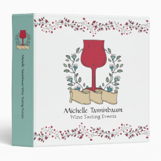 Doodle wine glass wine tasting sommelier 3 ring binder