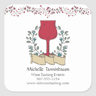 Doodle wine glass wine tasting sommelier square sticker