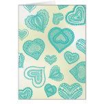 Doodle y corazones frescos del trullo del cordón tarjetas