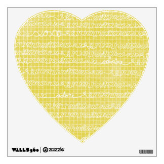 Doodled Hearts and XOXO on Yellow Wall Skin Decal
