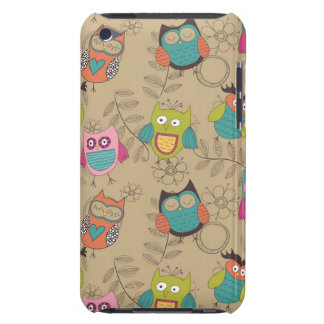 Doodled owls on beige background barely there iPod case