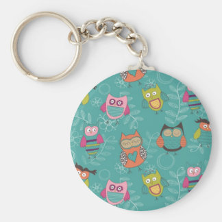 Doodled Owls on Teal Basic Round Button Keychain