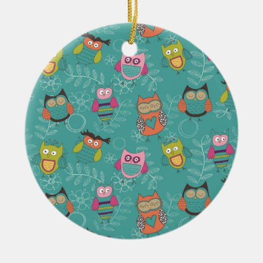 Doodled Owls on Teal Ceramic Ornament
