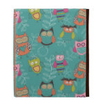 Doodled Owls on Teal iPad Cases