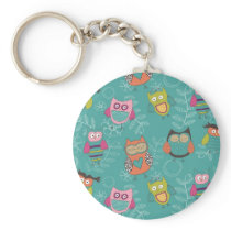Doodled Owls on Teal Keychain