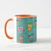 Doodled Owls on Teal Mug