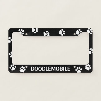 DOODLEMOBILE - Paw Prints - Custom Dog Lover's License Plate Frame