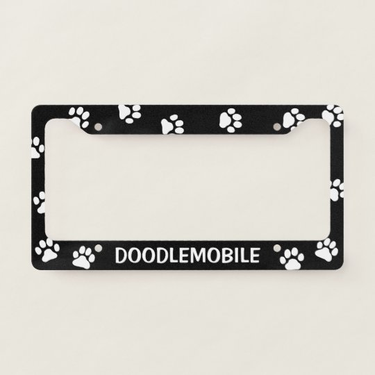 Doodlemobile Paw Prints Custom Dog Lovers License Plate Frame