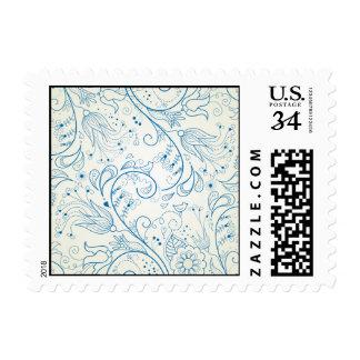 Doodles azules de Paisley Sello