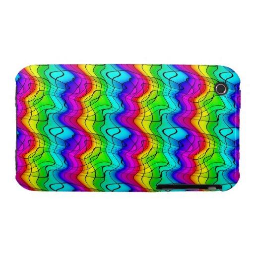Doodles coloridos del arco iris Case-Mate iPhone 3 fundas