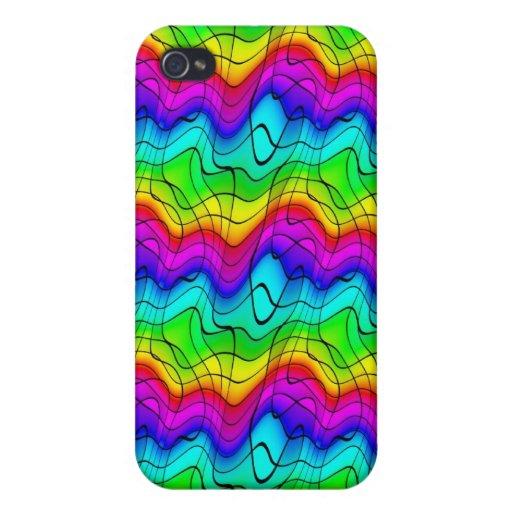 Doodles coloridos del arco iris iPhone 4 coberturas