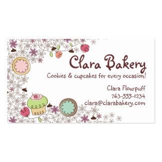 Doodles cookies cupcakes flowers bakery sweets business card template