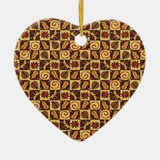 Doodles de la caída adorno de cerámica en forma de corazón