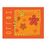Doodles de la flor tarjeta postal