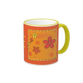 Doodles de la flor tazas de café