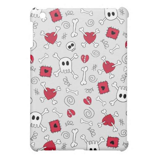 Doodles de los corazones quebrados de la bandera p iPad mini fundas