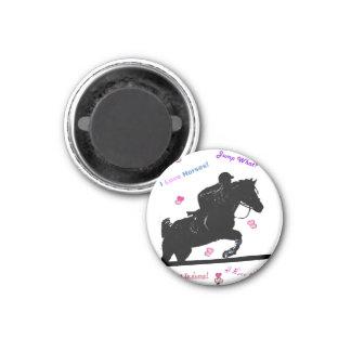 Doodles del caballo imán redondo 3 cm