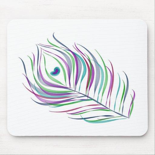 doodles del dibujo de la pluma del pavo real tapete de ratón