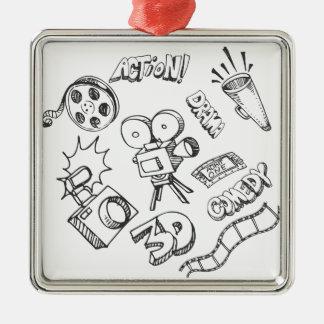 Doodles del entretenimiento adorno navideño cuadrado de metal
