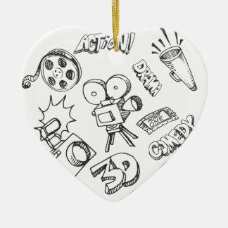 Doodles del entretenimiento adorno navideño de cerámica en forma de corazón