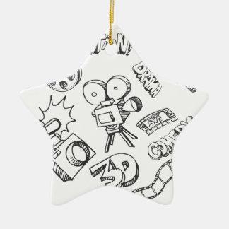 Doodles del entretenimiento adorno navideño de cerámica en forma de estrella