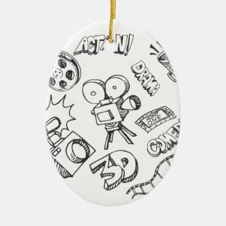 Doodles del entretenimiento adorno navideño ovalado de cerámica